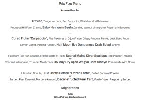 The late-winter prix fixe menu. Rest assured we ate everything on it. Everything.
